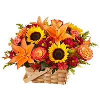 fields-of-europe-for-fall-floral-arrangement-inspired-by-sunflower-orange-circus-rose-lily-daisy-brown-basket