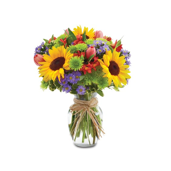 European-garden-for-spring-flower-arrangement-sunflowers
