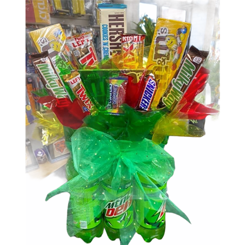 mountaindew soda pop with candy bouquet design and gifts